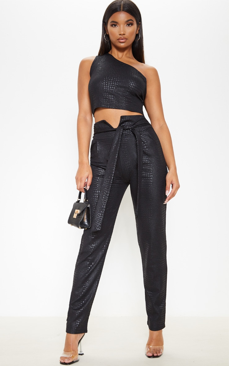 Black Croc Print Tie Waist Skinny Trouser 1