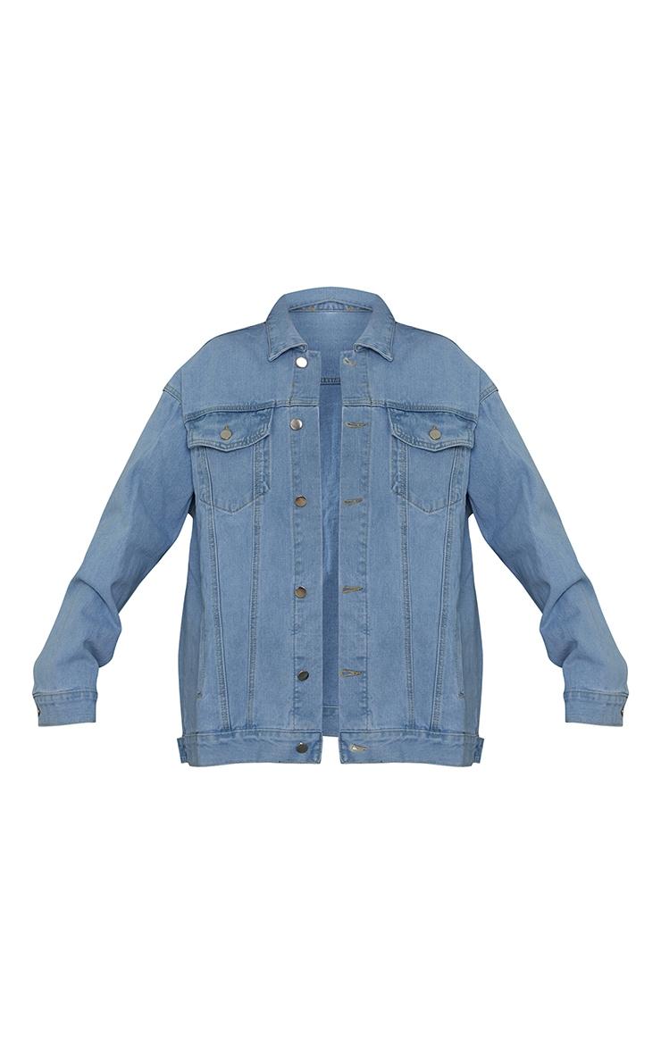 PRETTYLITTLETHING - Veste en jean oversize boyfriend bleu clair délavé 5