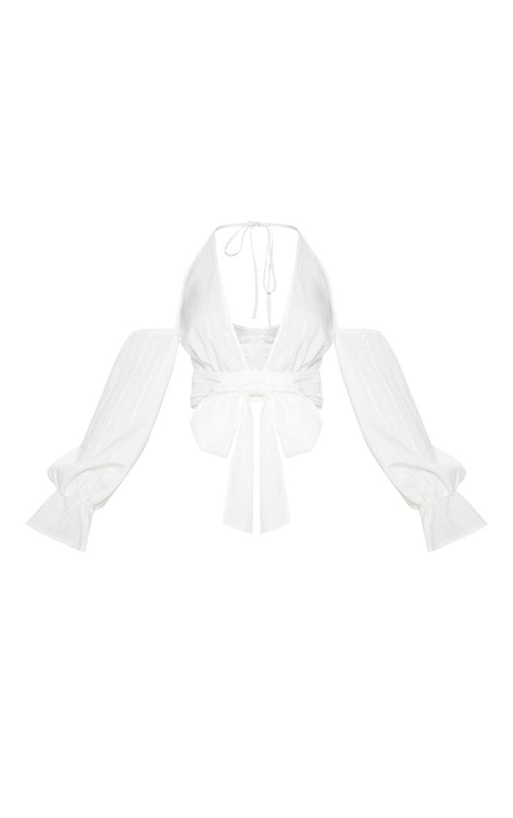 White Halterneck Puff Sleeve Shirt 3
