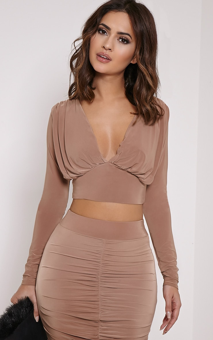 Nicole Camel Slinky Ruched Crop Top 1