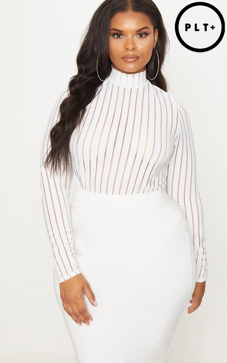 Plus White Burn Out Striped Mesh Bodysuit