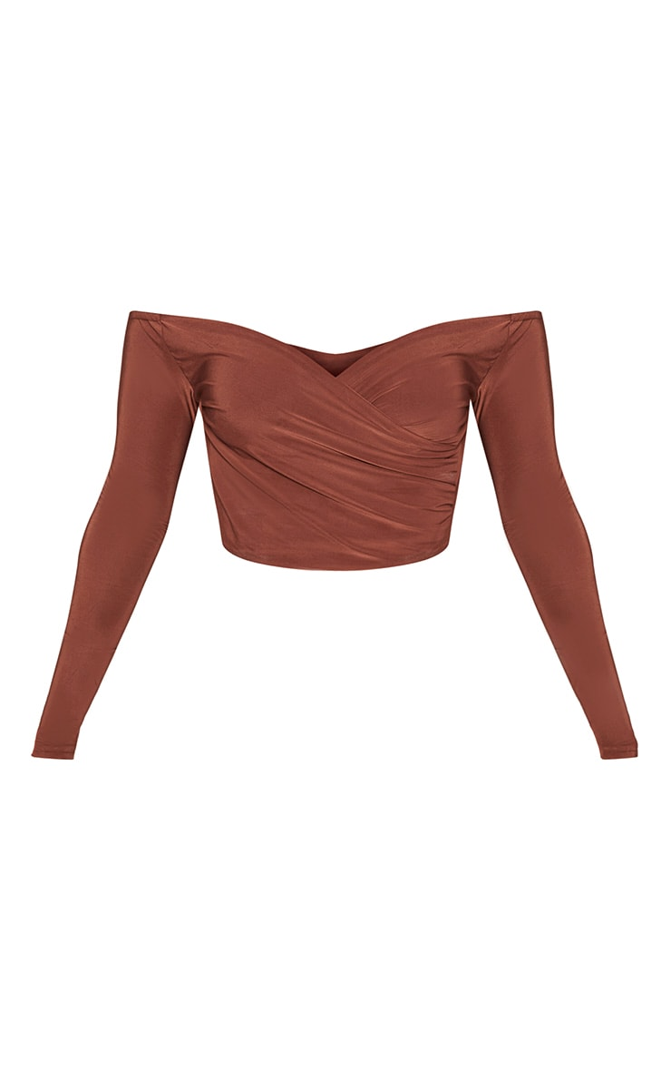 Shape Brown Slinky Bardot Crop Top 3