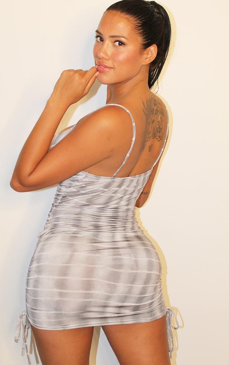 Shape Black Tie Dye Strappy Ruched Side Bodycon Dress 3