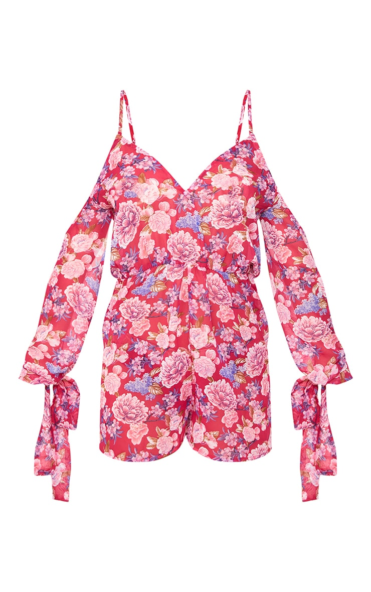 Pink Floral Cold Shoulder Chiffon Playsuit 3