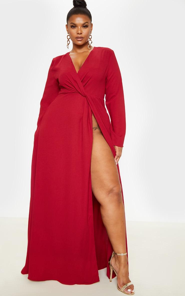 Plus Burgundy Twist Front Maxi Dress 1