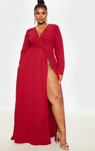 Plus Burgundy Twist Front Maxi Dress