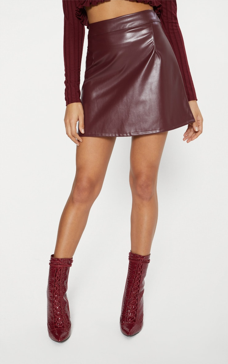 Maroon Faux Leather A Line Mini Skirt  2