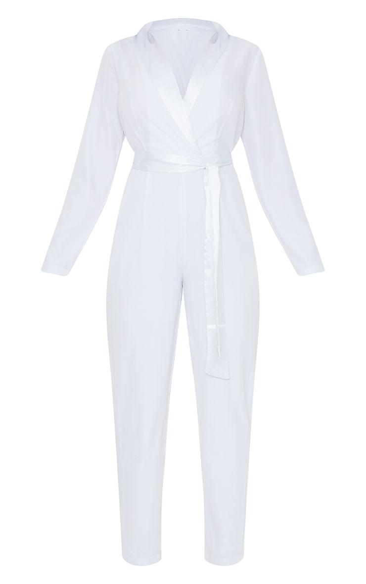 White Satin Lapel Blazer Jumpsuit 5