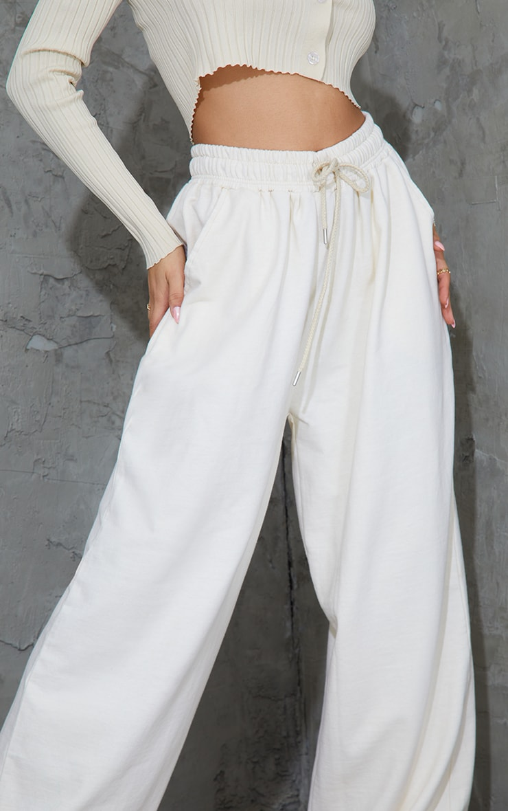 Cream Drawstring Slouch Wide Leg Trousers 4