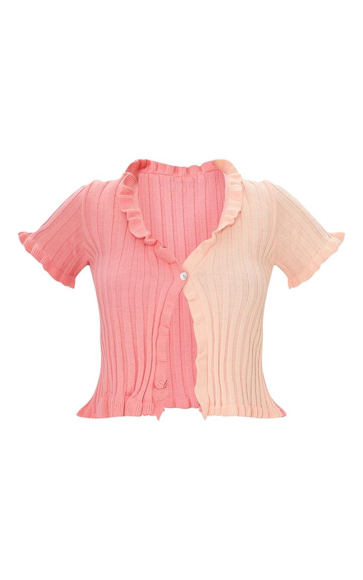 Pink Colour Block Ruffle Short Sleeve Button Cardigan 5