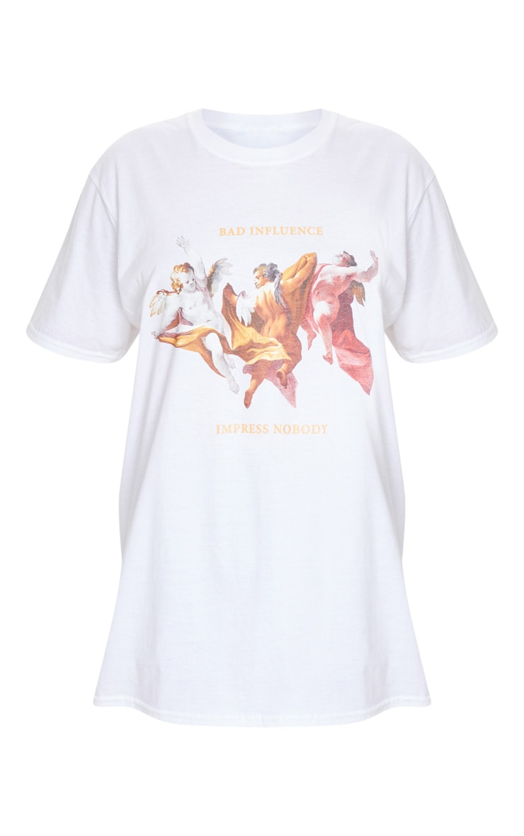 White Bad Influence Cherub T Shirt 3