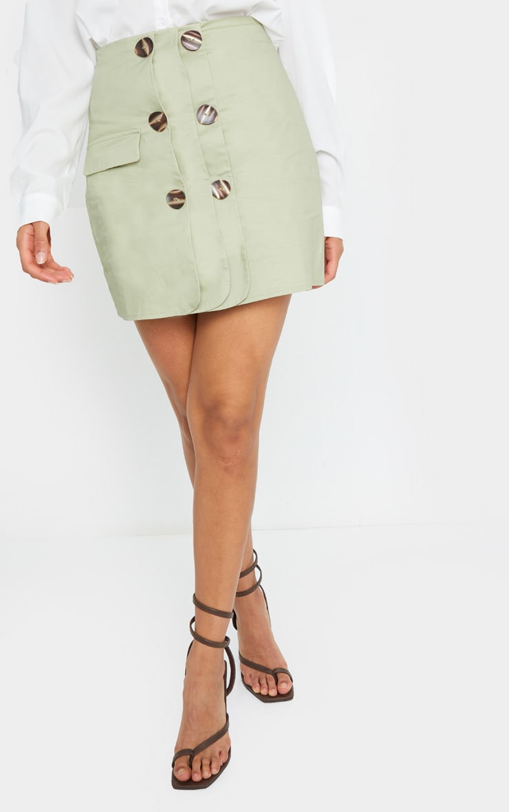 Sage Green Button Detail Cargo Mini Skirt 2