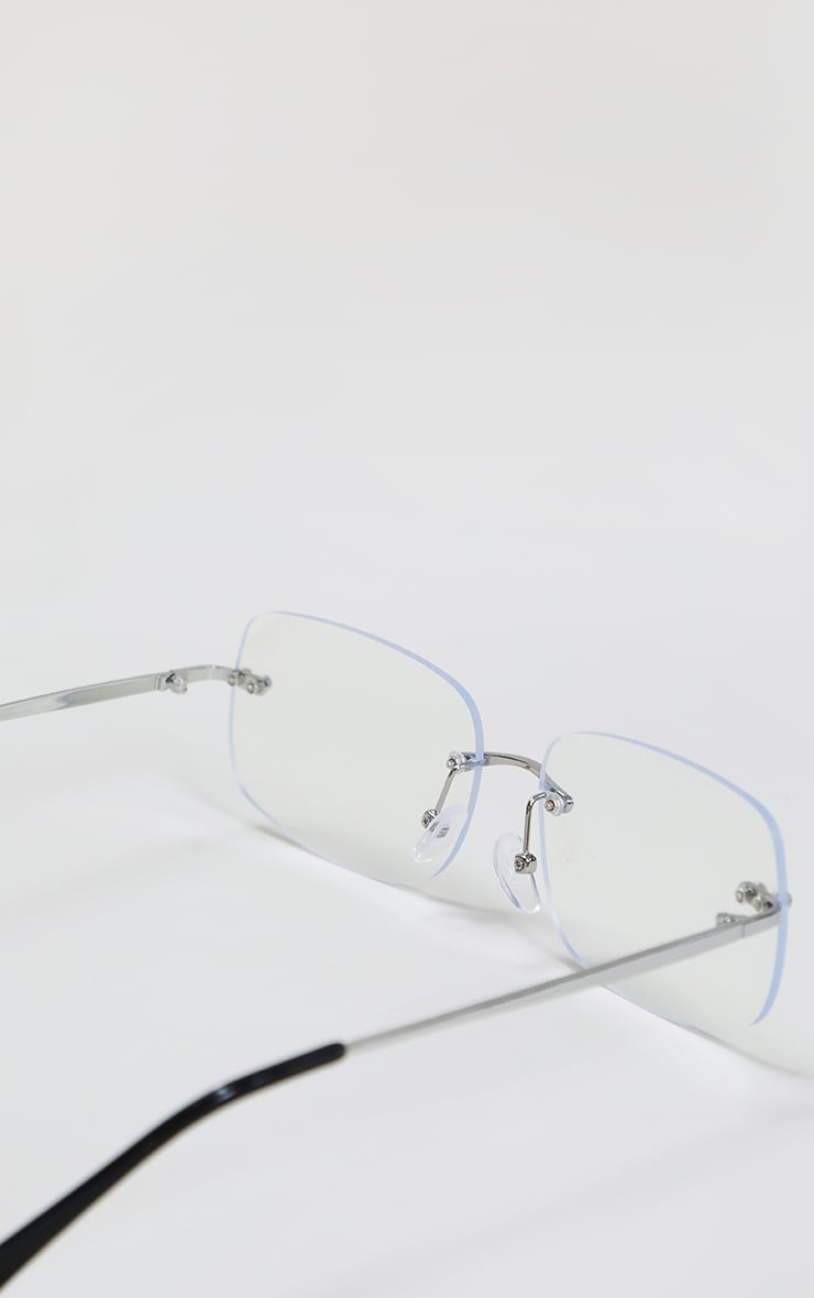 Clear Rimless Square Frame Sunglasses 3