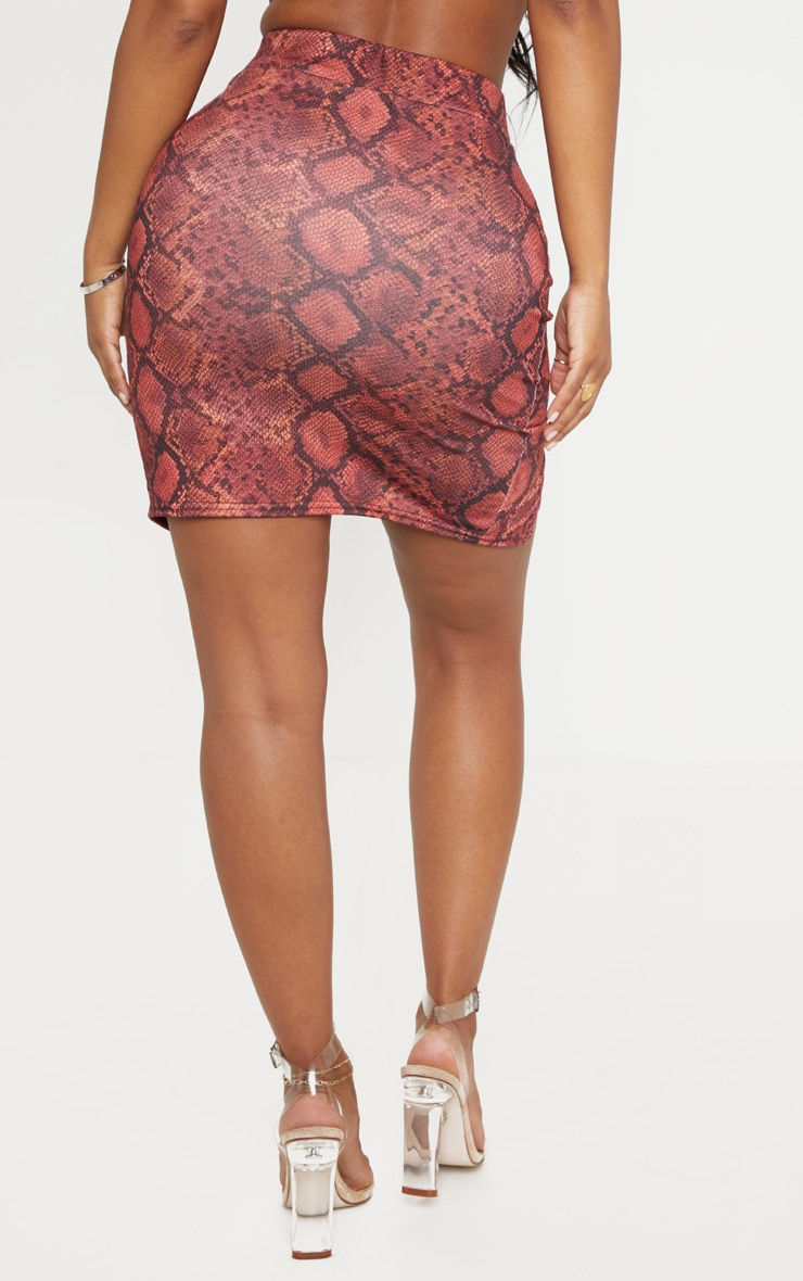 Shape Red Snake Print Split Detail Skirt 4