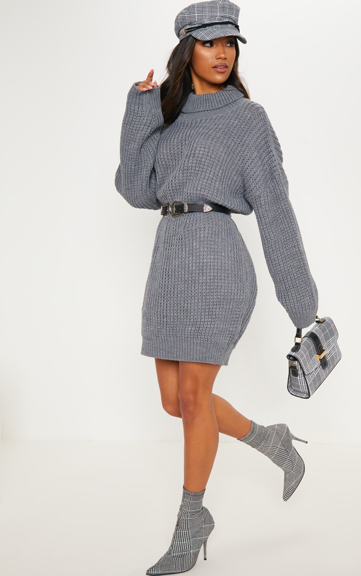 Grey Oversized High Neck Knitted Jumper Dress  3