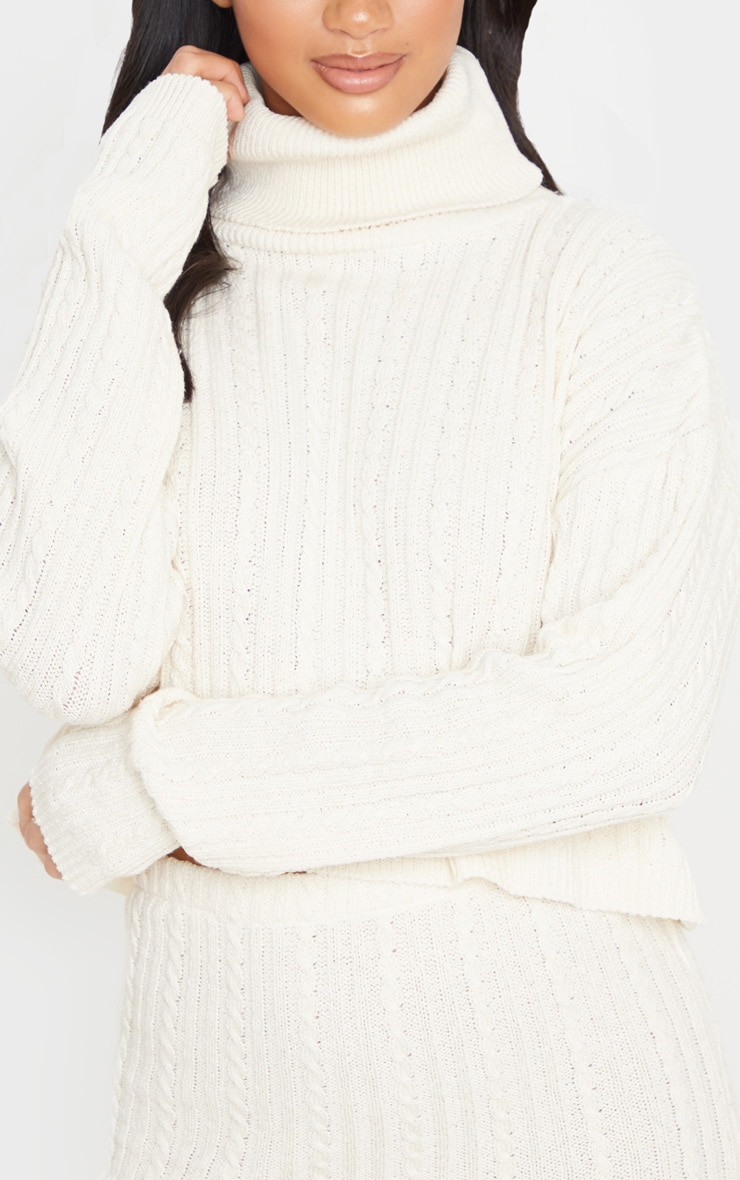 Petite Stone Roll Neck Knitted Long Sleeve Sweater 5