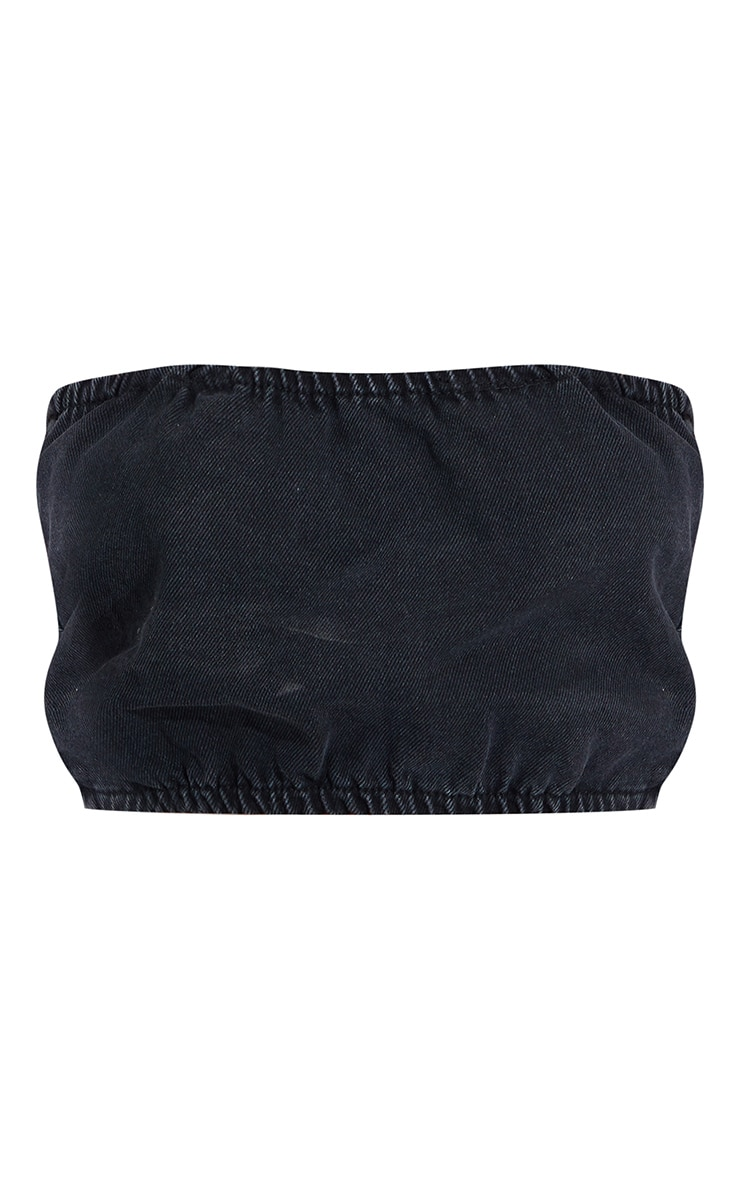 Washed Black Elasticated Denim Bandeau Top 5