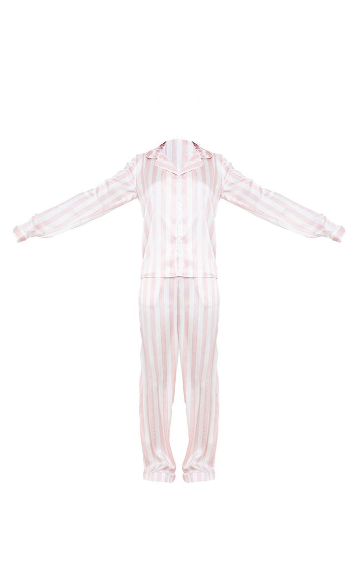 PRETTYLITTLETHING Tall Satin Pink Striped Pocket Long PJ Set 5