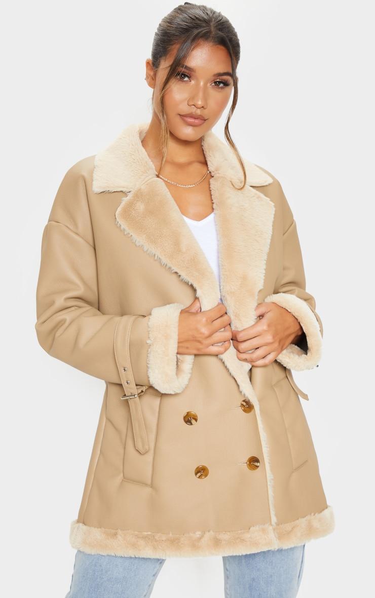 Camel PU Fur Trim Vintage Style Coat 1