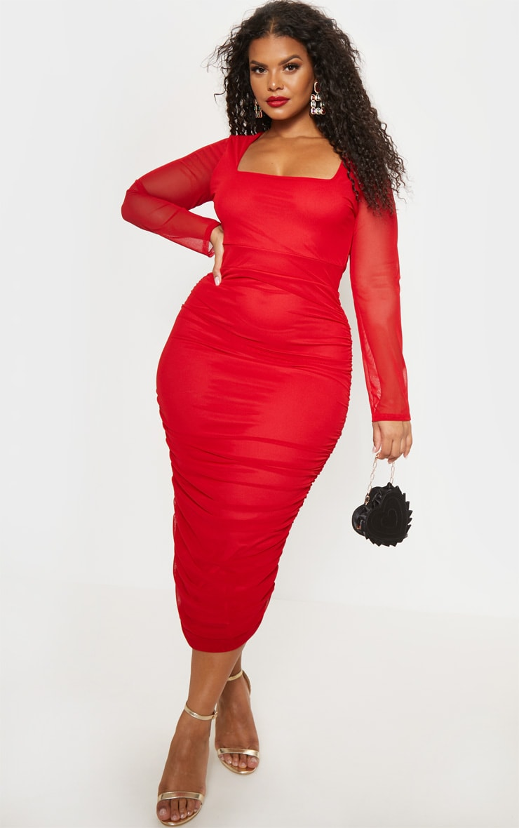 Plus Red Mesh Ruched Midi Dress 5
