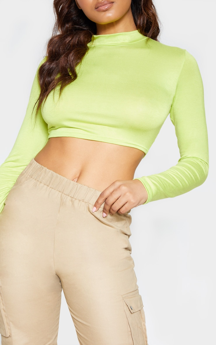 Tall Neon Lime Long Sleeved High Neck Crop Top 5
