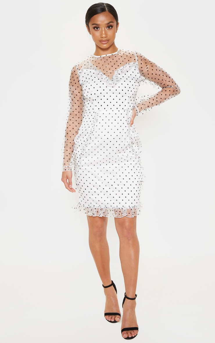 Petite White Dobby Mesh Frill Detail Long Sleeve Dress 4