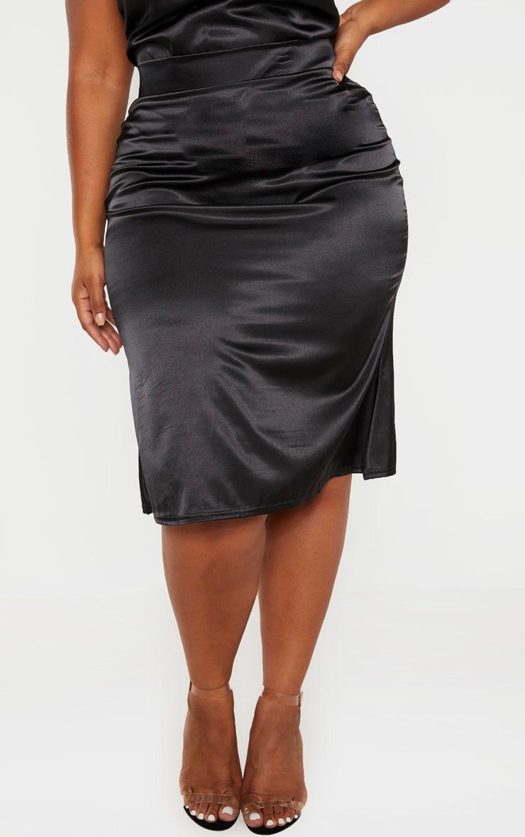 Plus Black Satin Flare Hem Midi Skirt  2
