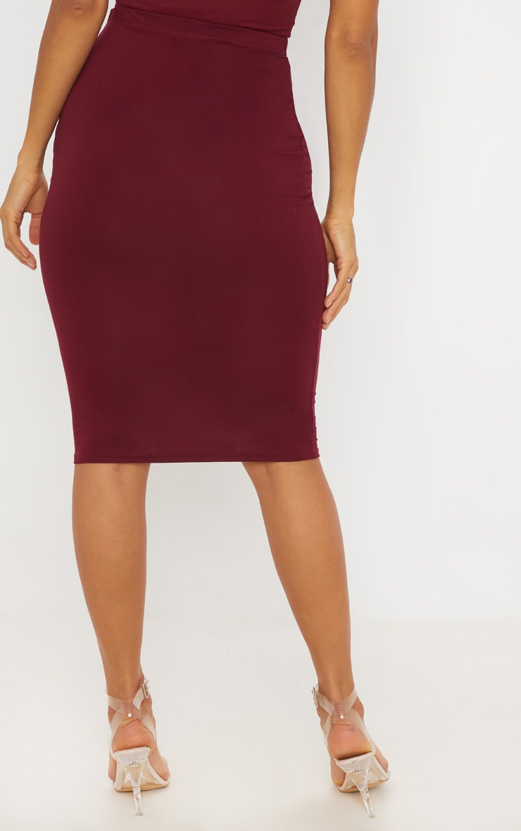 Grey Maroon and Taupe Basic Jersey Midi Skirt 3 Pack 4