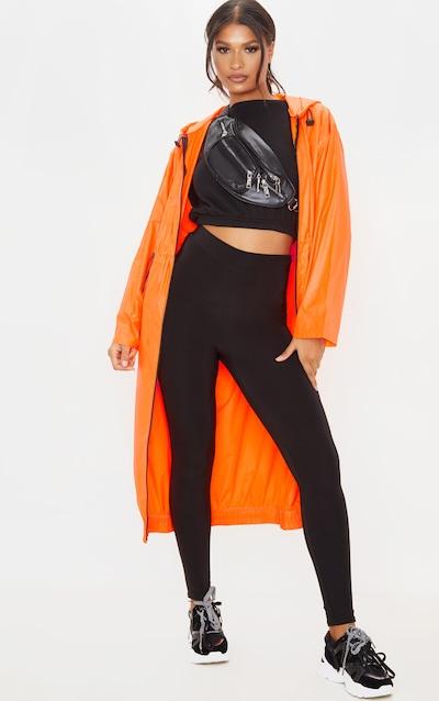 Neon Orange Maxi Hooded Windbreaker