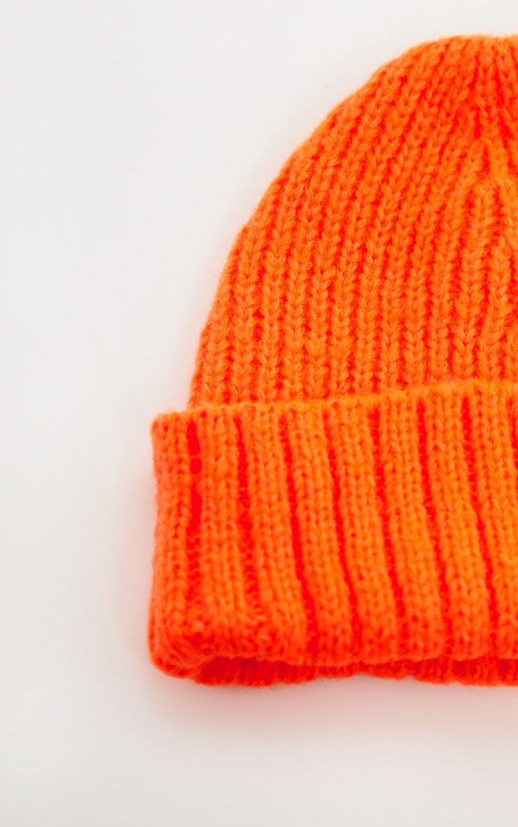 Neon Orange Knitted Ribbed Beanie 3