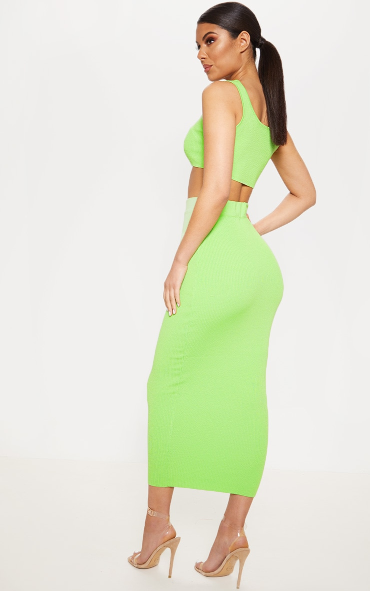 Lime Knitted Ribbed Co Ord 2