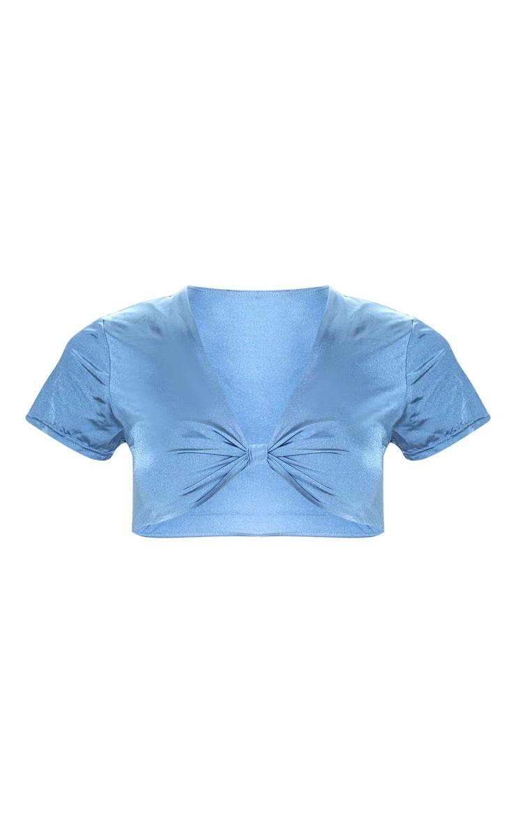Slate Grey Knot Front T shirt Bikini Top 3