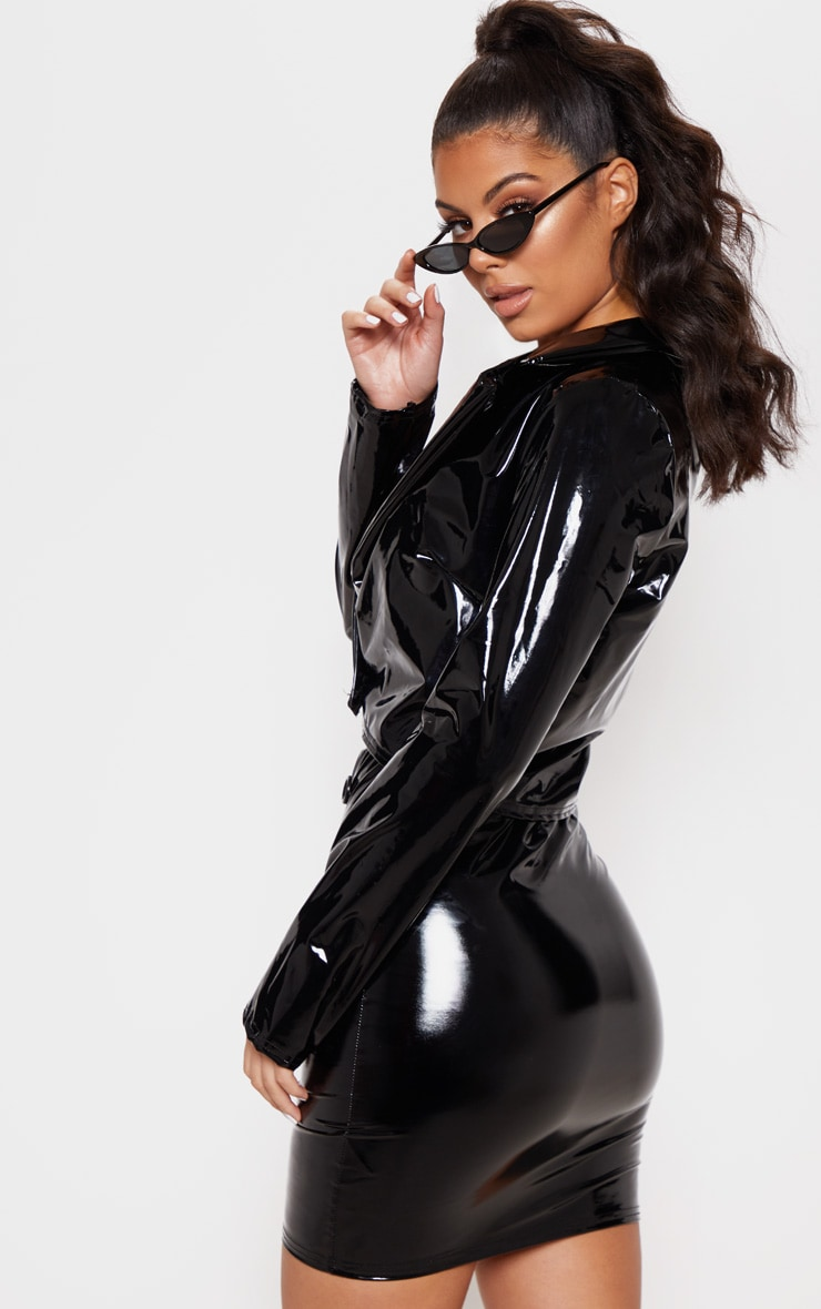 Black Vinyl Crop Long Sleeve Jacket 2