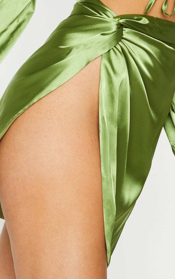 Olive Satin Knot Detail Asymmetric Mini Skirt 4
