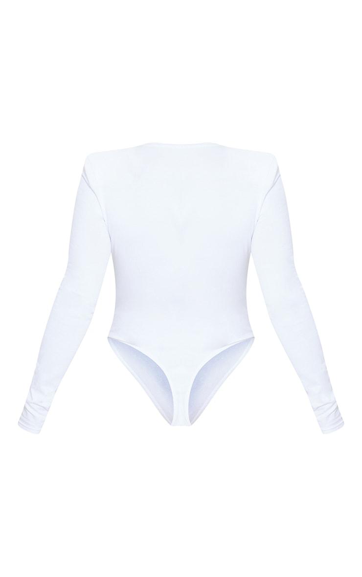 White Cotton Mix Shoulder Pad Bodysuit 6