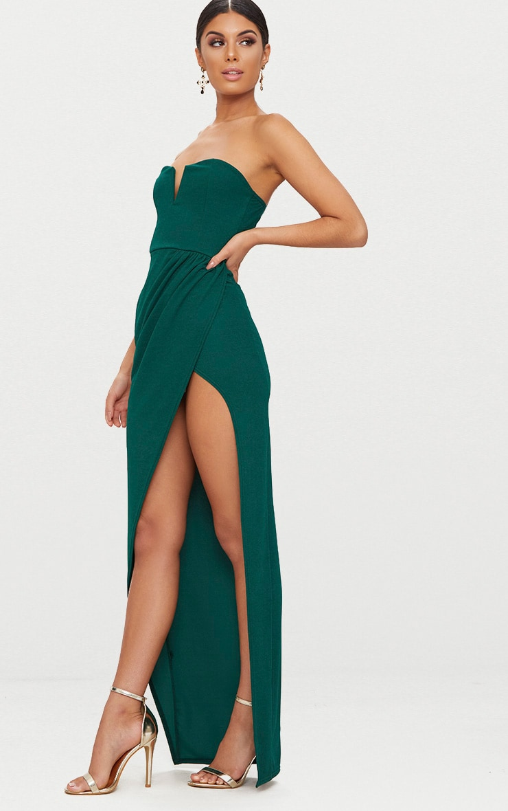 Emerald Green Bandeau V Bar Wrap Detail Maxi Dress 4