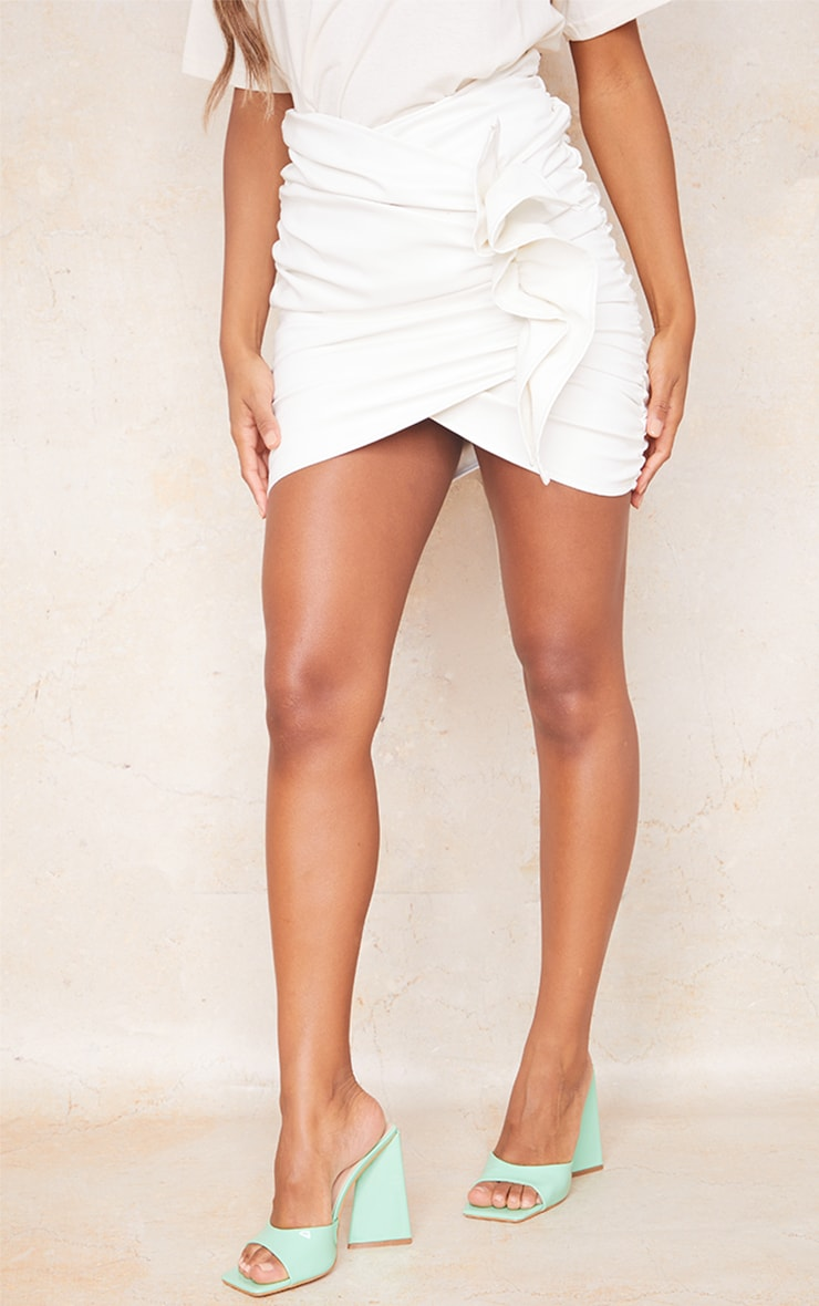 White Detailed Faux Leather Ruched Mini Skirt 2