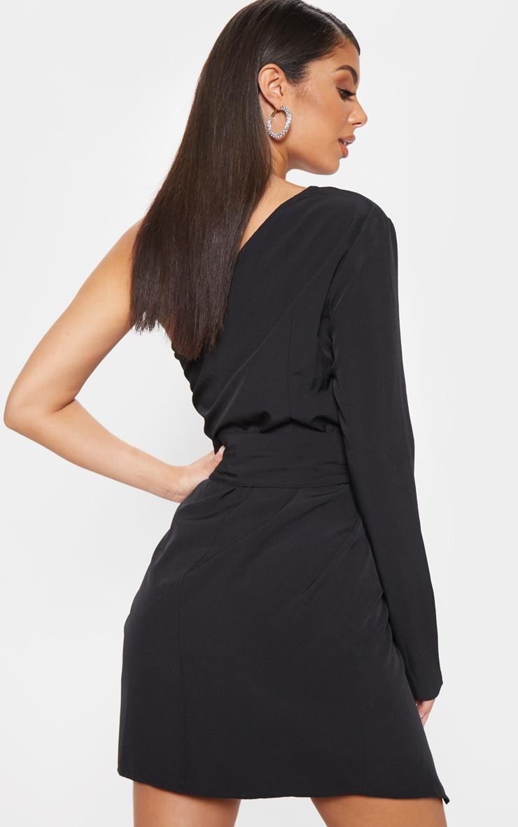 Black One Shoulder Belted Bodycon Dress  2