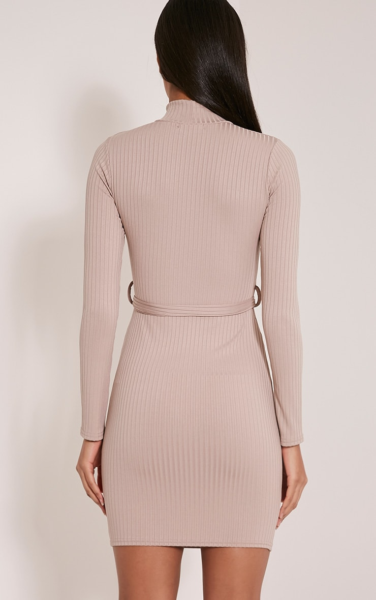 Mya Taupe Belt Detail Ribbed Bodycon Dress 2