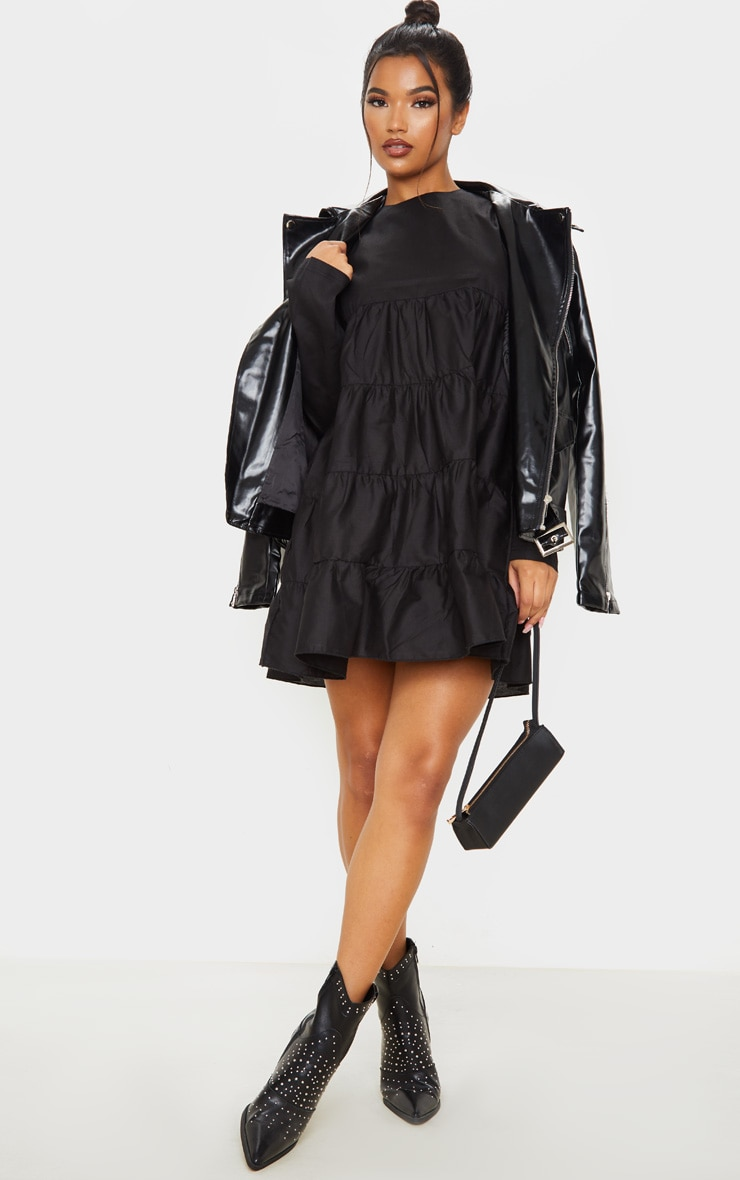 Black Tiered Long Sleeve Crew Neck Smock Dress image 1