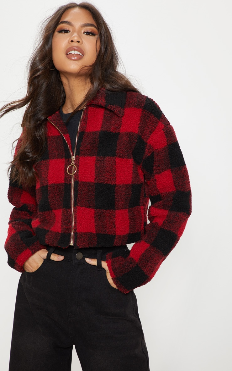 Red Cropped Checked Borg Jacket  4