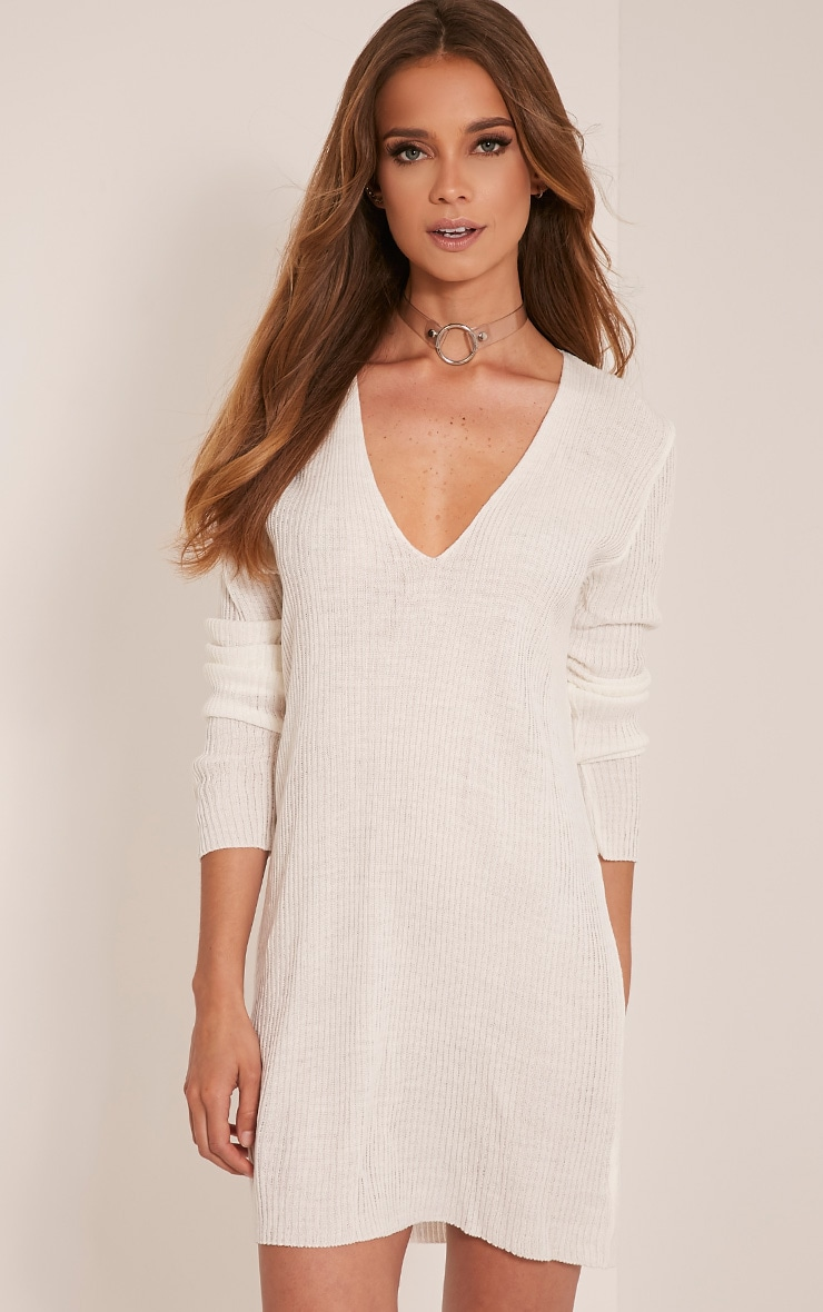a9a560b15859 Navella Cream Deep V Knitted Jumper Dress image 1