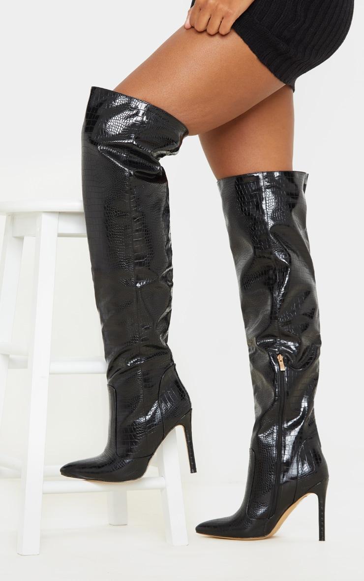 Black Croc Knee High Boot