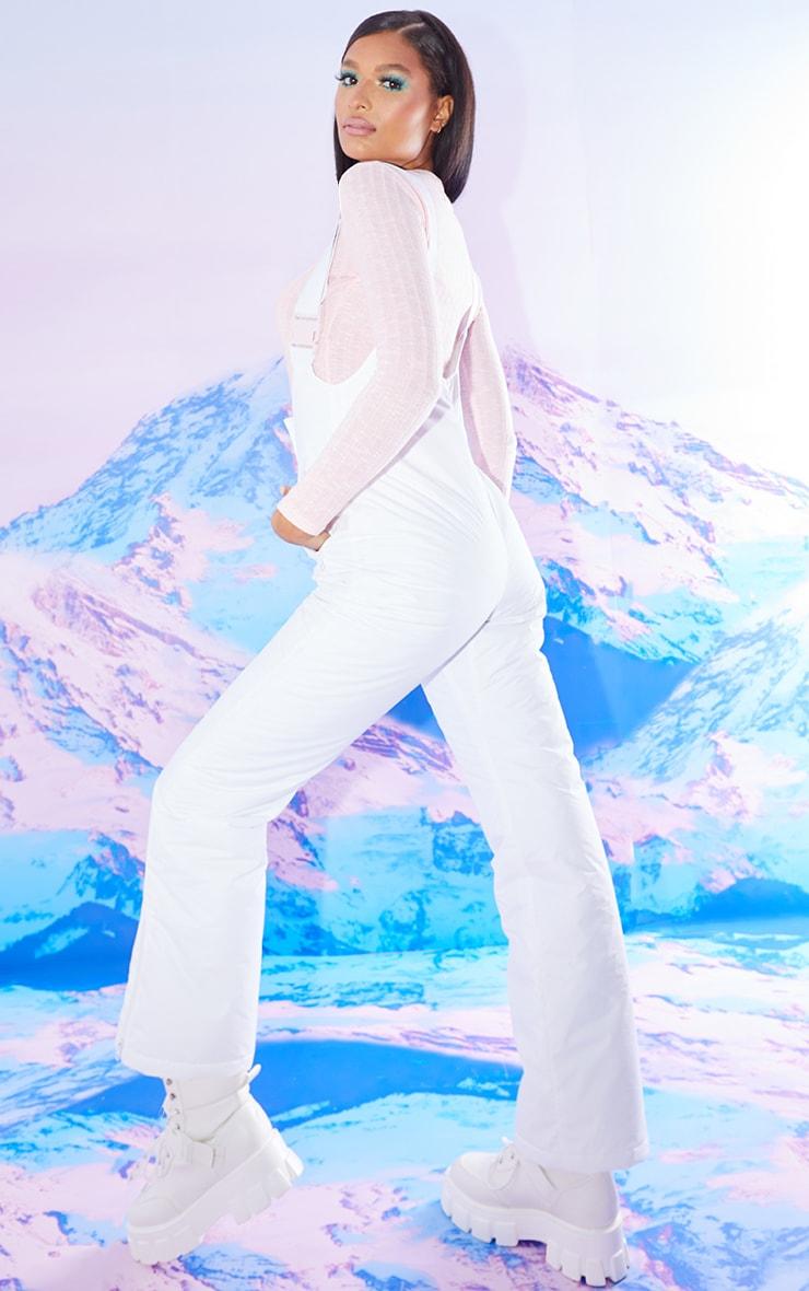 PRETTYLITTLETHING Ski Pastel Pink Tape White Overall Salopettes 2