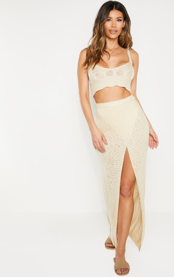 Stone Split Front Knitted Maxi Skirt  1
