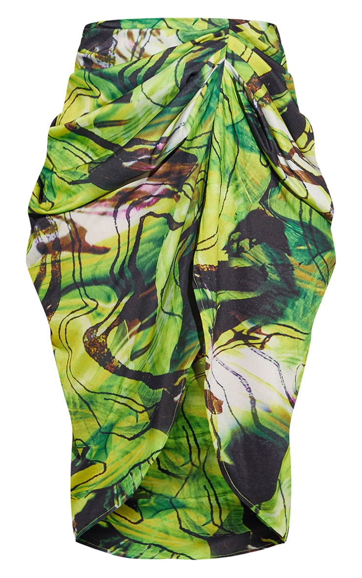 Green Abstract Swirl Ruched Side Midi Skirt 5