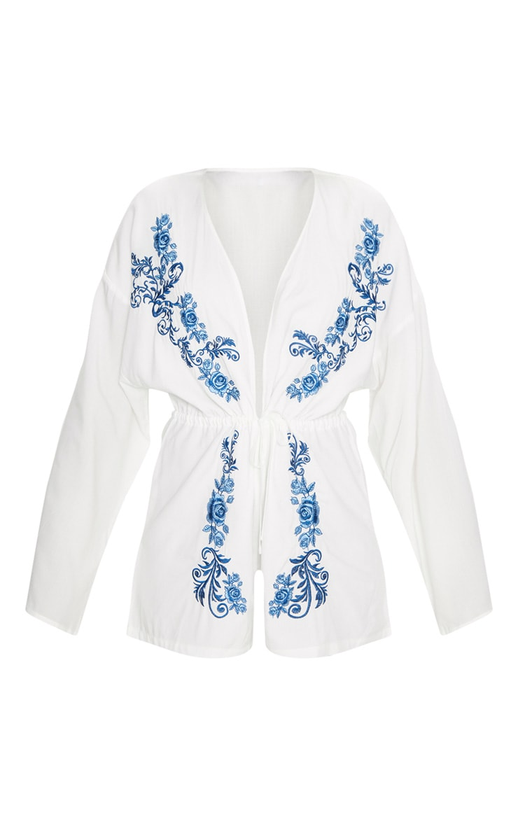 White Embroidered Plunge Playsuit 3