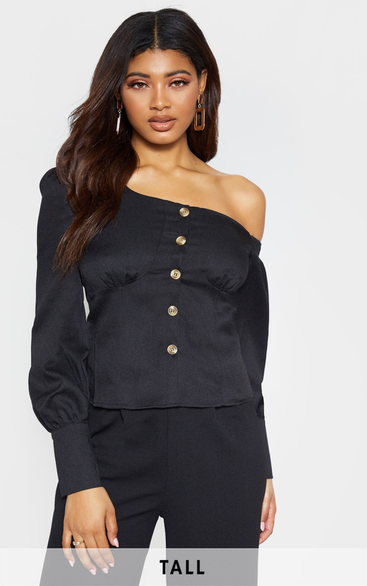 Tall Black Ruched Shoulder Button Front Top 1