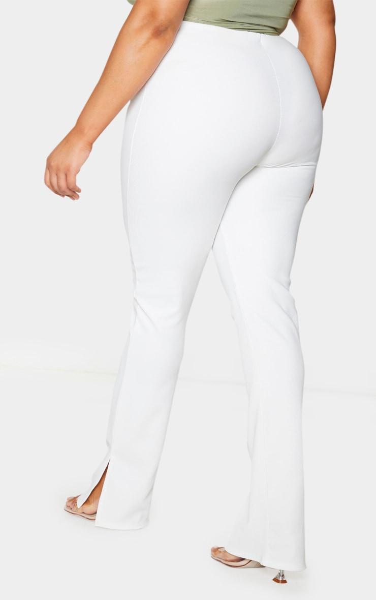 Plus Cream Ribbed Skinny Split Hem Pants 3