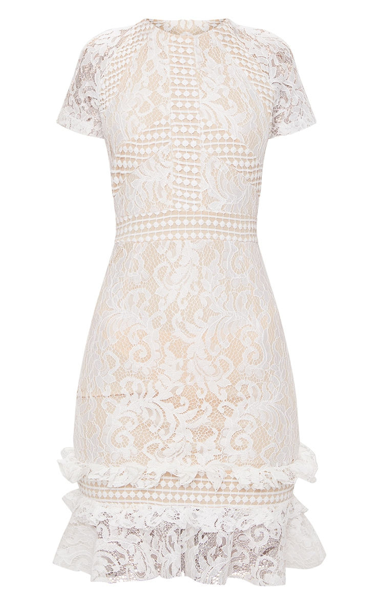 White Frill Hem Lace Bodycon Dress 3